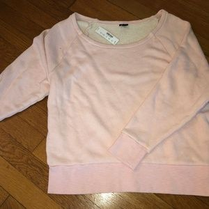 Jcrew light pink off the shoulder crew neck